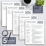 5 Page Bundle Resume CV Template for Biochemistry, Scientist, Science, Chemistry, Lab technician, Student, Major, Fresher