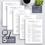 5 Page Resume Bundle - The Art of Resume - Resumes & CV Template Instant Download with Free Cover Letter