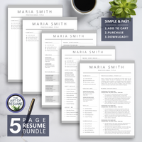 5 Page Resume Bundle - The Art of Resume - Resume and CV Template Designs with Free Cover Letter & Reference Page