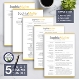 5 Page Resume Bundle - resume cv template one page for microsoft word, apple pages. Instantly download resumes format design.