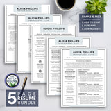 5 Page Resume Bundle - The Art of Resume & CV Templates