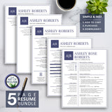 5 Page Resume Bundle - Best Professional Resume & CV Template Design 2020