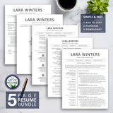 5 Page Resume Bundle - The Art of Resume - Resumes & CV Custom Templates Instantly Download