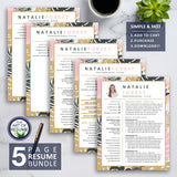 5 Page Creative Resume Bundle for Fashion, Blogger, Florist, Stylist