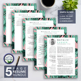 5 Page Resume Bundle - Creative Resume Template for Fashion, Blogger, Designer, Artist, Stylist