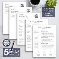 Creative Resume with Photo Insert, Professional Resumes CV with Cover Letter