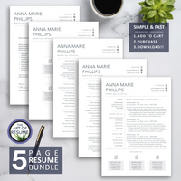 5 Page Resume Template - The Art of Resume - Resume Template Design Bundle
