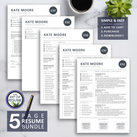 5 Page Resume CV Template - The Art of Resume - Resume Template Design Bundle with Free Cover Letter, Resume Writing Manual, and Resume Action Verb Guide
