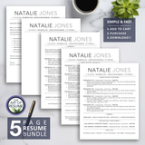 ATS-Friendly Resume CV Template Bundle with Free Resume Writing Guide - Mac & PC - 5 Page Bundle