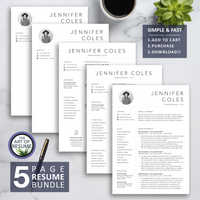 5 Page Resume Bundle - The Art of Resume Designs -Resume Template Design with Free Cover Letter and Reference Page, Instantly Download Resumes and CVs Fully Customizable Formats