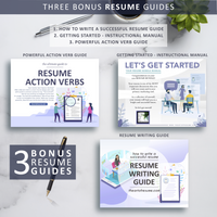 Resume Writing & Instructional Manual - The Art of Resume - Resume Template Design Bundle with Free Cover Letter, Resume Writing Manual, and Resume Action Verb Guide