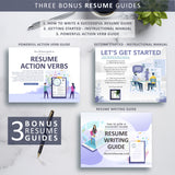 Resume Writing Guide, Resume Action Verb Guide, Resume Instructional Manual - Professional Resume & CV Template Format Design, Instant Download