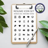 Bonus Free Resume Icons 250+ - Professional Resume & CV Template Format Design, Instant Download