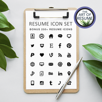 Bonus Free Resume CV Template Icons Included with The Art of Resume CV Template Bundles