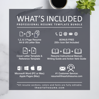 What is included in your resume bundle - The Art of Resume Designs -Resume Template Design with Free Cover Letter and Reference Page, Instantly Download Resumes and CVs Fully Customizable Formats
