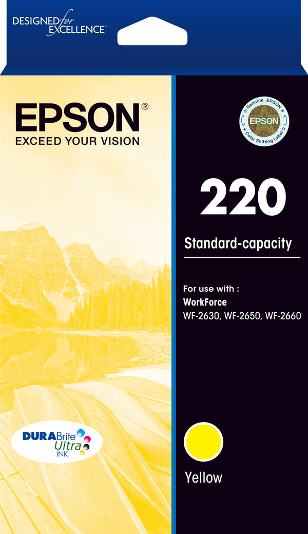 Epson 220 Std Capacity DURABrite Ultra Yellow ink(Epson WorkForce WF-2630, WF-2650, WF-2660)