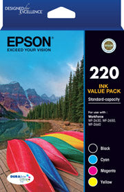 Epson 220 Four Colour Std Value Pack (Black, Cyan, Magenta and Yellow)-Epson WorkForce WF-2630, WF-2650 & WF-2660
