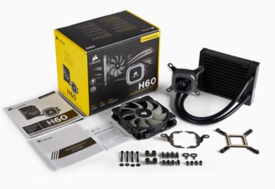 Corsair Hydro Series H60, 120mm Radiator, Single 120mm PWM Fan, Liquid CPU Cooler