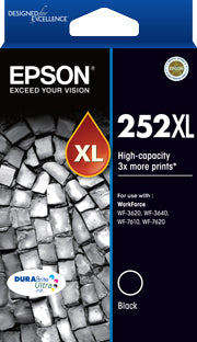 Epson 252XL High Capacity DURABrite Ultra Black ink - WF-3620, WF-3640, WF-7610, WF-7620, WF-7725