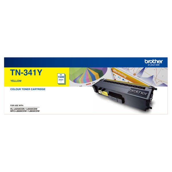 Brother TN-341Y STANDARD YIELD YELLOW TONER TO SUIT HL-L8250CDN/8350CDW MFC-L8600CDW/L8850CDW - 1500Pages