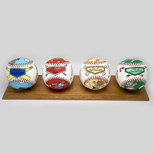 Buy Baby's First Year Baseball Set (Boy) Collectible • Hand-Painted, Unique Baseball Gifts by Unforgettaballs®