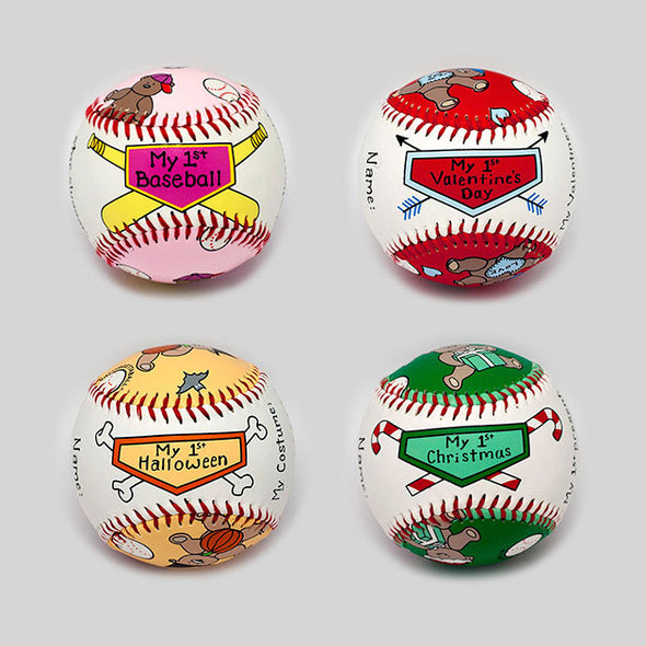 Buy Baby's First Year Baseball Set (Girl) Collectible • Hand-Painted, Unique Baseball Gifts by Unforgettaballs®