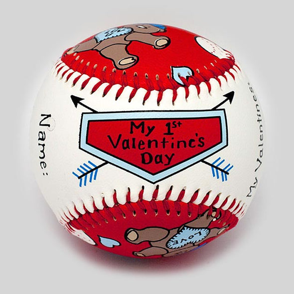 Baby's First Valentine's Day Baseball