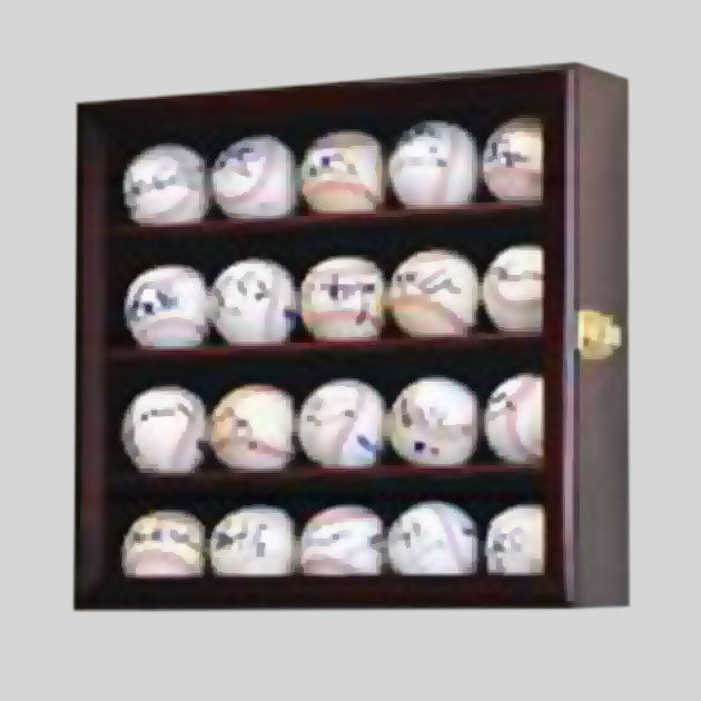 Buy 20-Baseball Display Case, UV Protection, Lockable Collectible • Hand-Painted, Unique Baseball Gifts by Unforgettaballs®