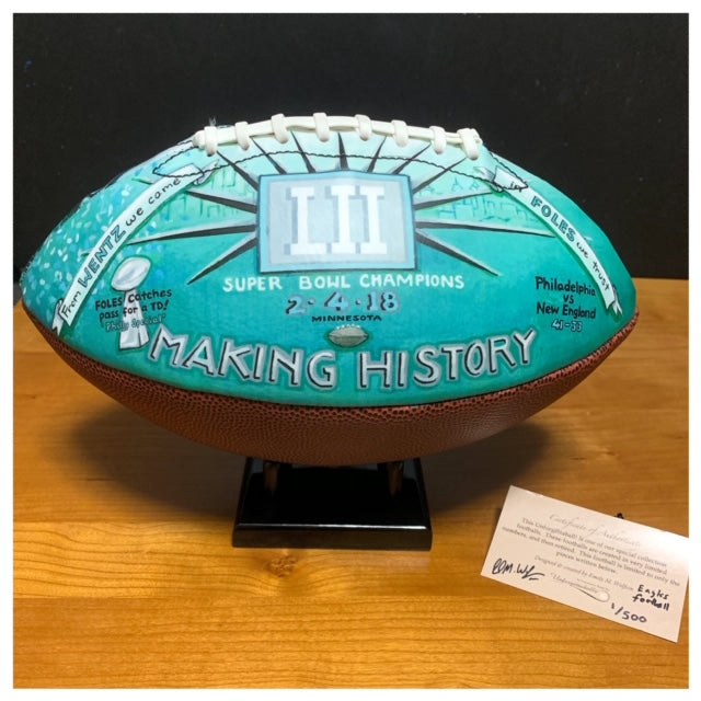 Buy Philadelphia Eagles Super Bowl Champions 2018 Commemorative Football Collectible • Hand-Painted, Unique Baseball Gifts by Unforgettaballs®