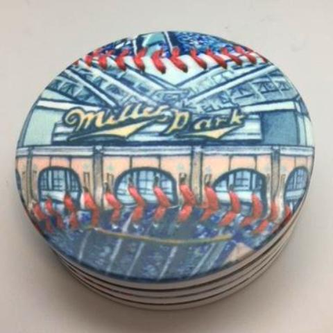 Buy Miller Park Coaster Set Collectible • Hand-Painted, Unique Baseball Gifts by Unforgettaballs®