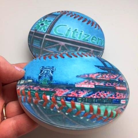 Buy Citizens Bank Park Coaster Set Collectible • Hand-Painted, Unique Baseball Gifts by Unforgettaballs®