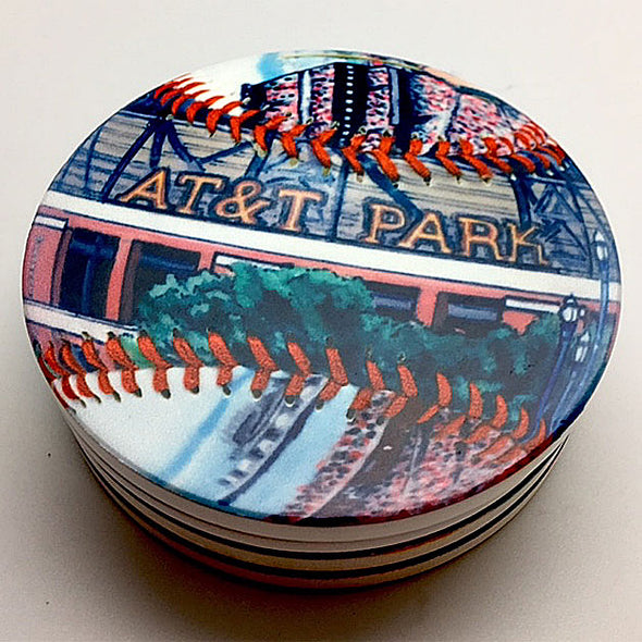 Buy AT&T Park Coaster Set Collectible • Hand-Painted, Unique Baseball Gifts by Unforgettaballs®