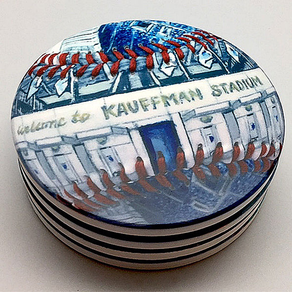 Buy Kauffman Stadium Coaster Set Collectible • Hand-Painted, Unique Baseball Gifts by Unforgettaballs®