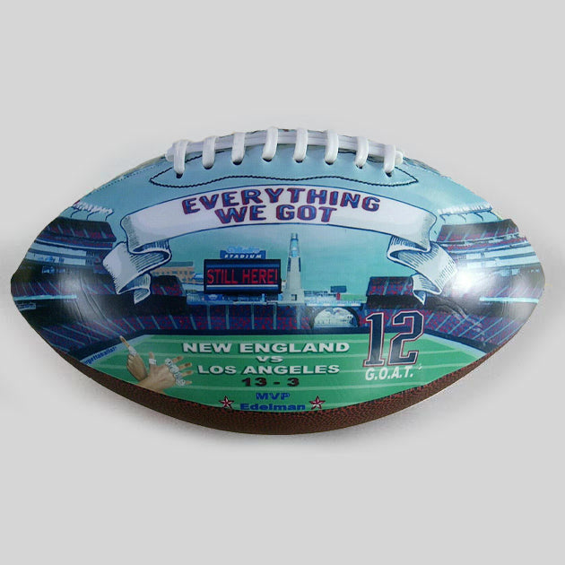 Buy New England Patriots Super Bowl Champions 2019 Commemorative Football Collectible • Hand-Painted, Unique Baseball Gifts by Unforgettaballs®