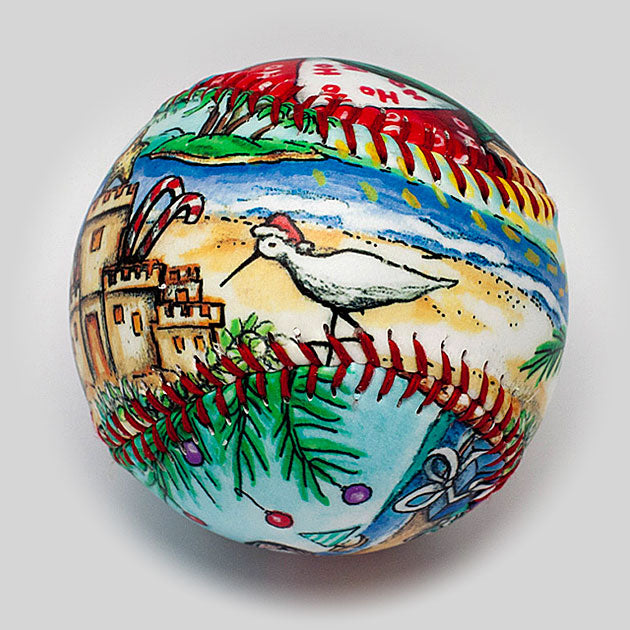 Buy Summer Santa Baseball Collectible • Hand-Painted, Unique Baseball Gifts by Unforgettaballs®