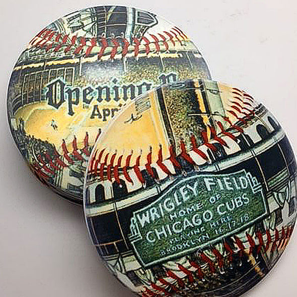 Buy Opening Day Wrigley Field Coaster Set Collectible • Hand-Painted, Unique Baseball Gifts by Unforgettaballs®