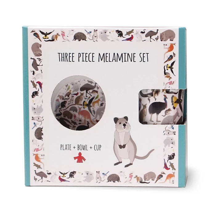 Red Parka - Melamine 3 Piece Set - Australian Animals