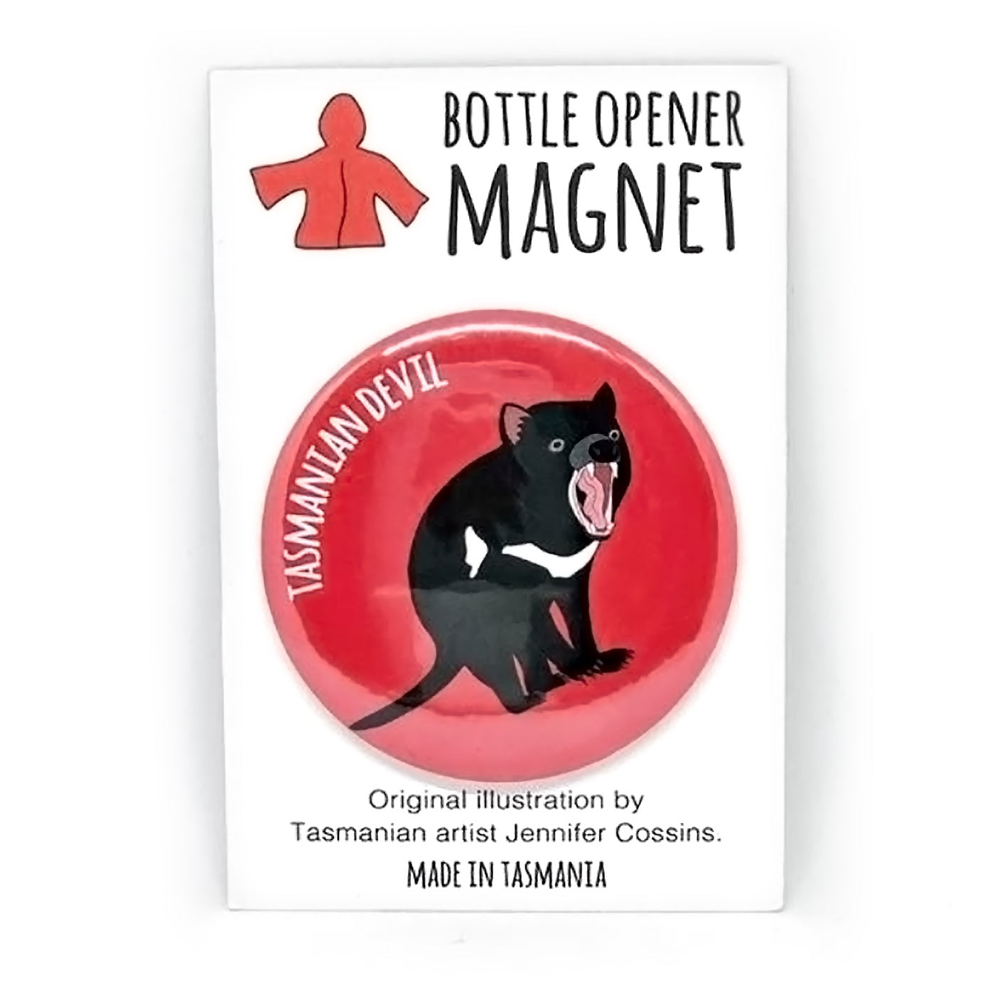 Red Parka – Bottle Opener Magnet – Tasmanian Devil