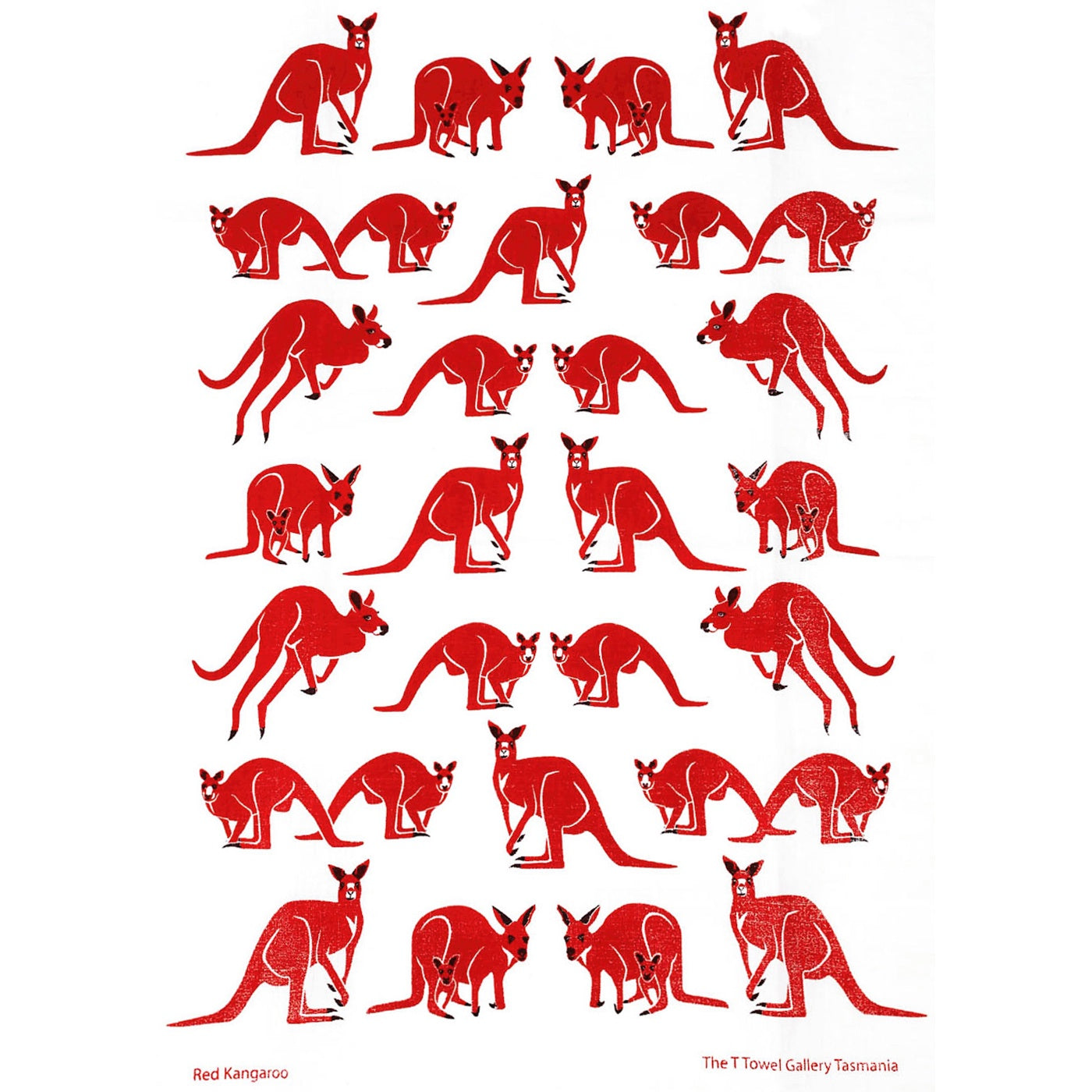 The T-Towel Gallery - Tea Towel - Red Kangaroo