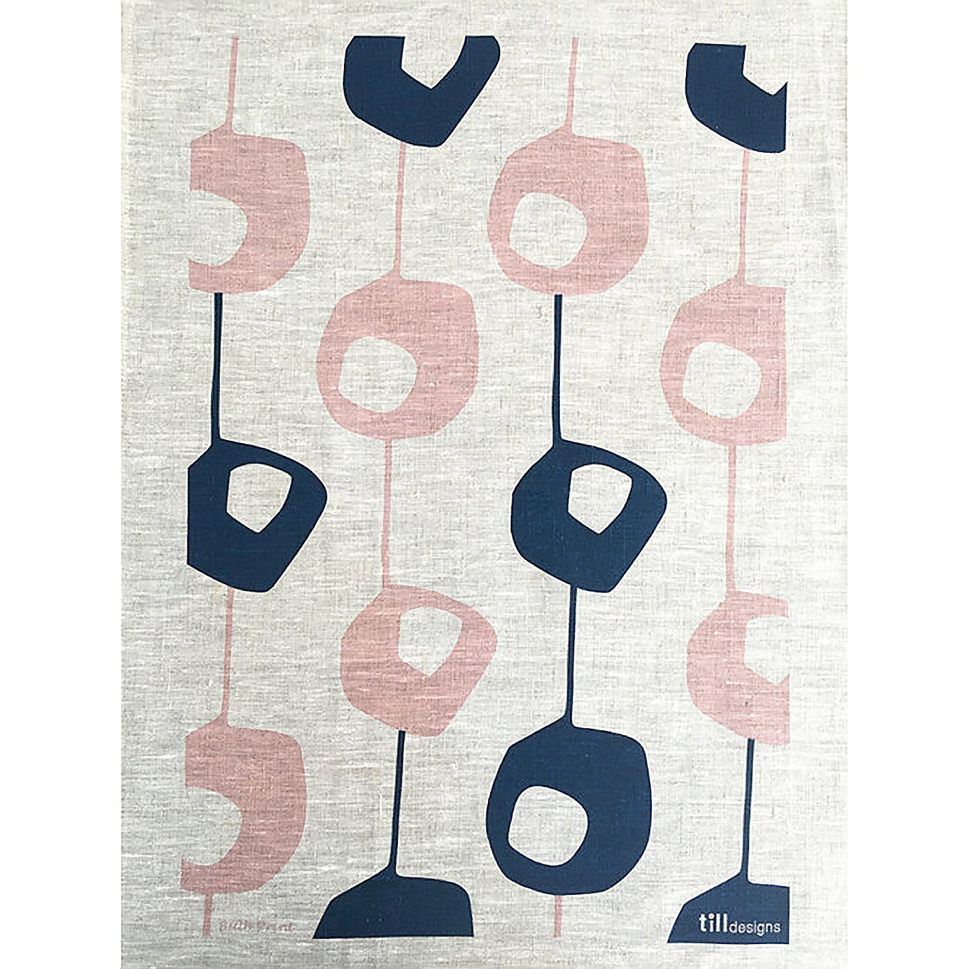 Till Designs - Tea Towel - Pod - Pink & Indigo