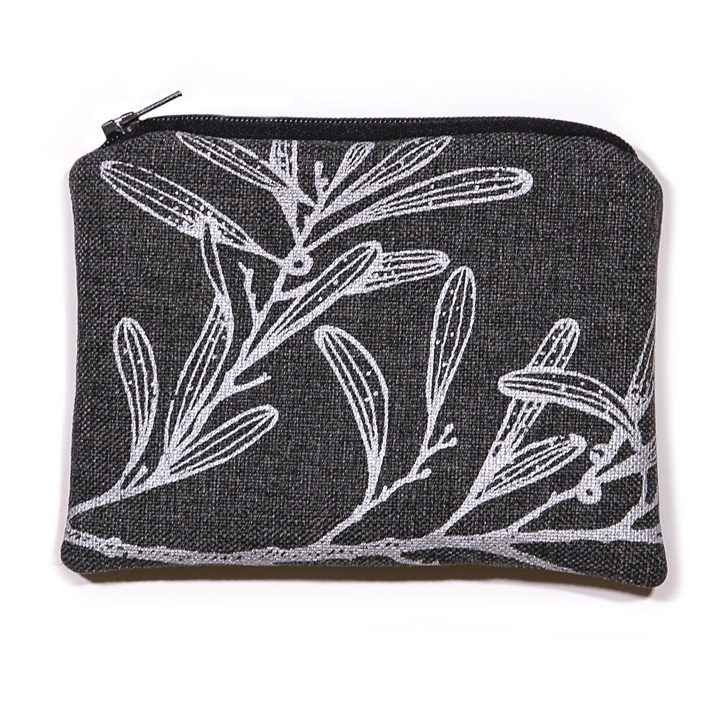 Stalley Textile Co - Zip Purse - Small - Blackwood - Silver on Charcoal