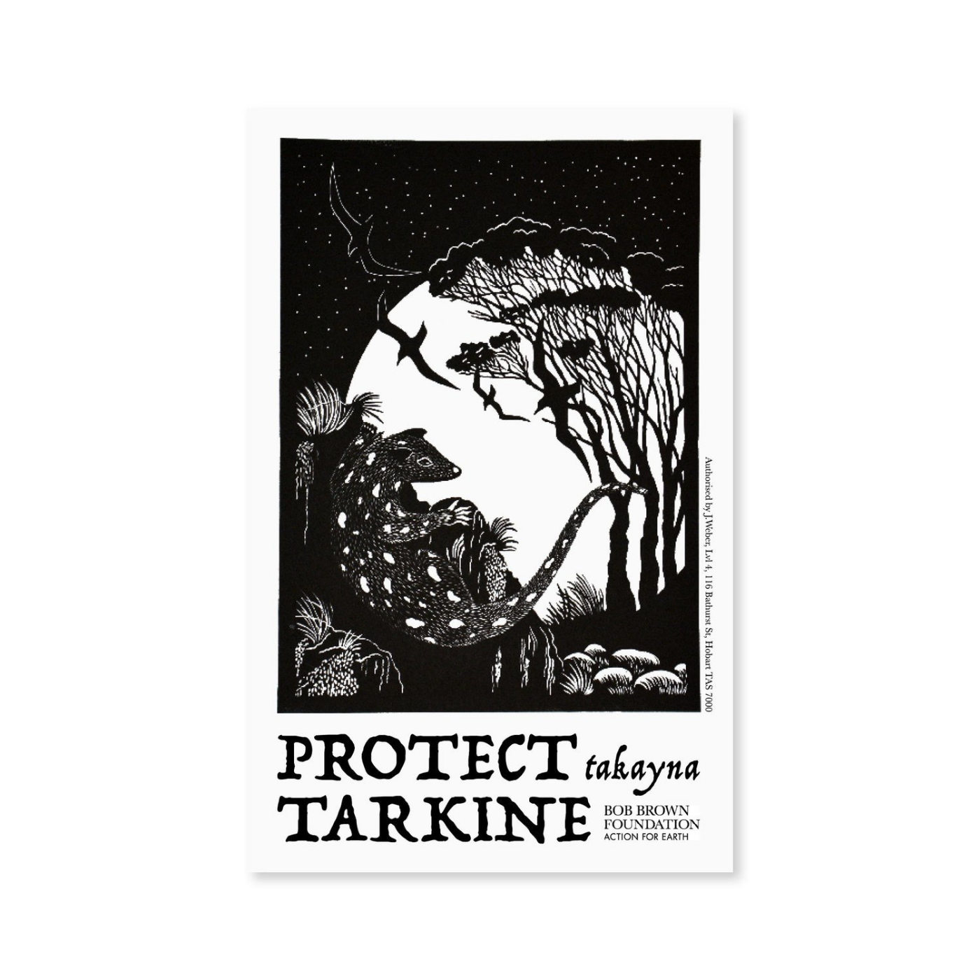 Bob Brown Foundation - Sticker - Protect takayna / Tarkine, Anne Conran Print