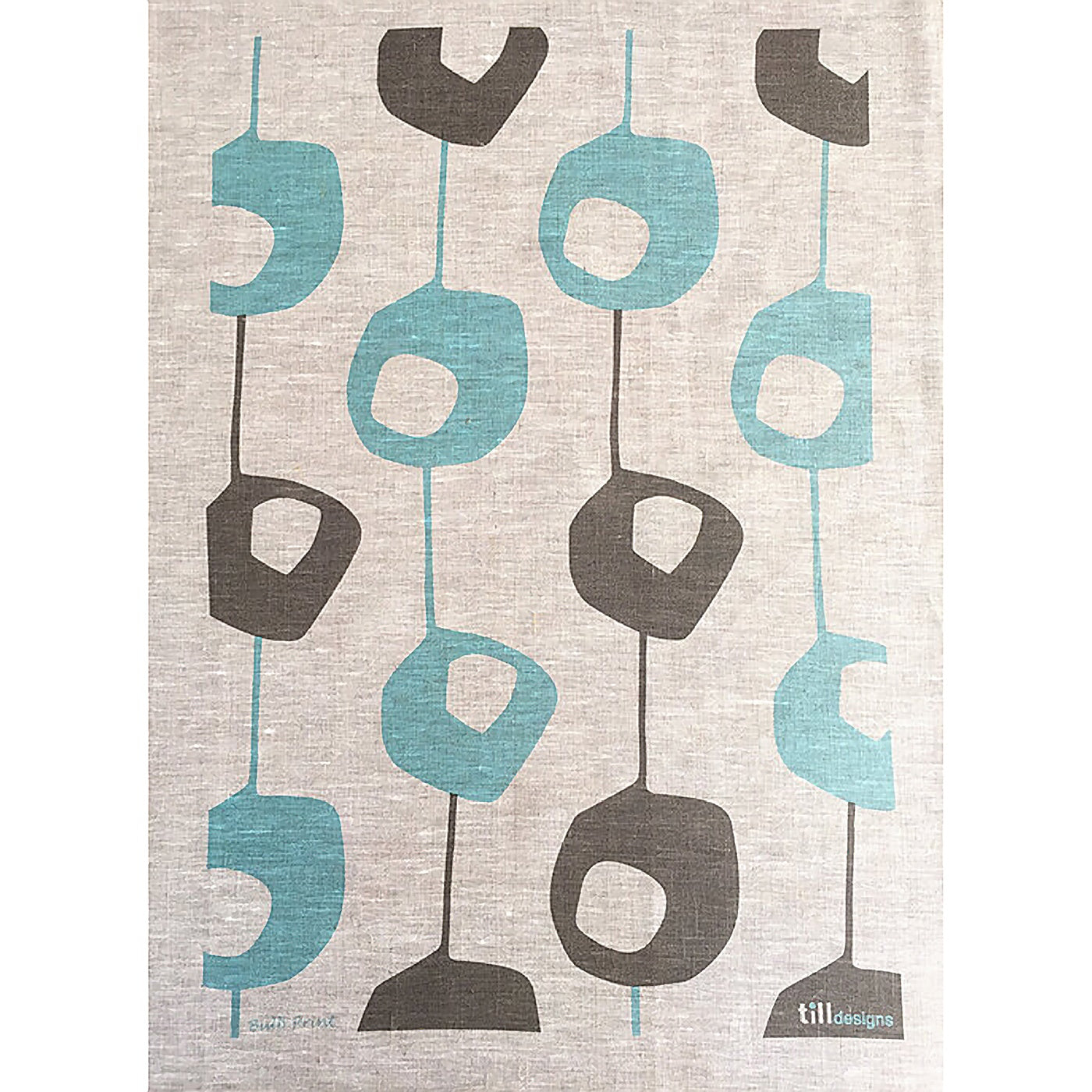 Till Designs - Tea Towel - Pod - Aqua &  Mud