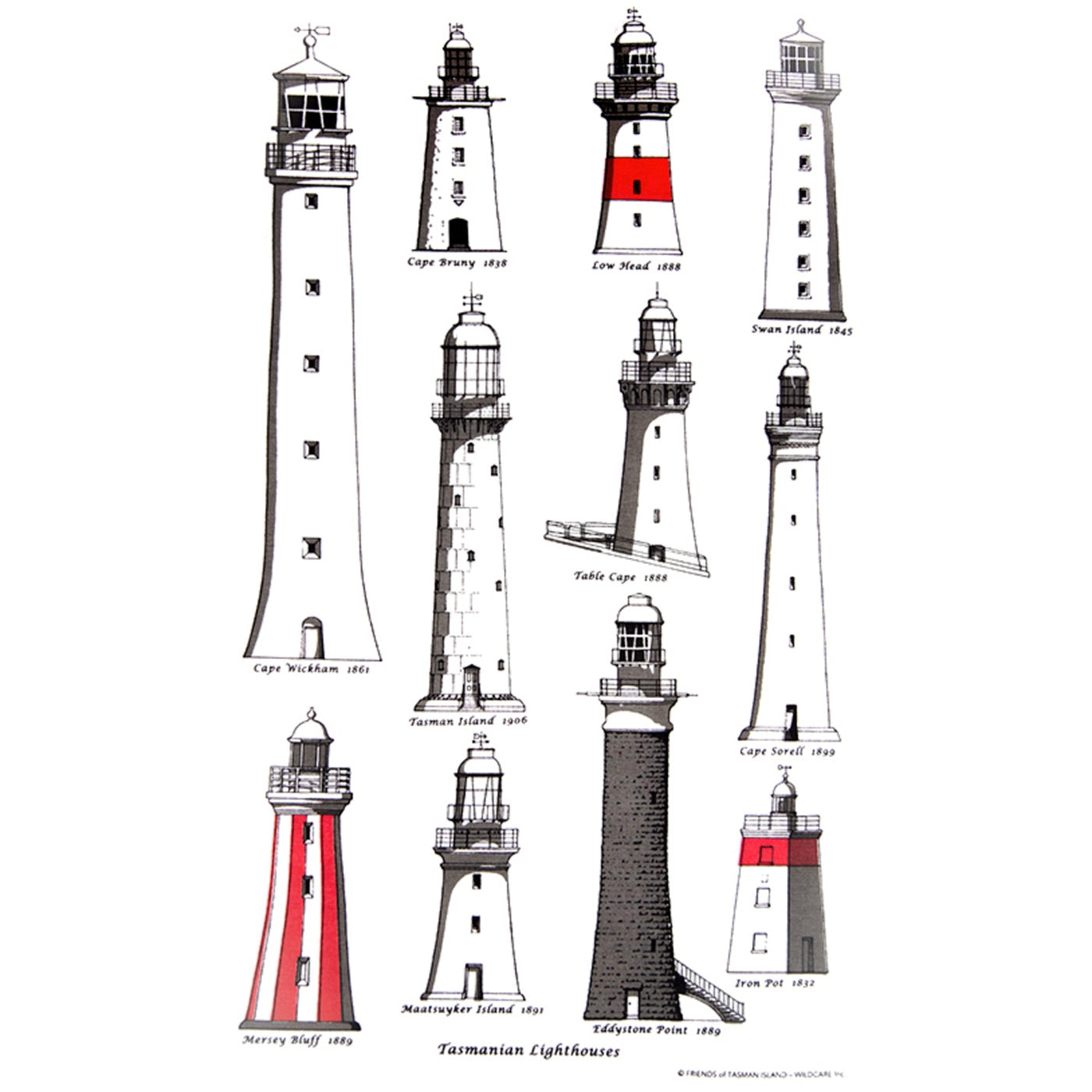 Wildcare Inc. - Tea Towel - Lighthouses of Tasmania
