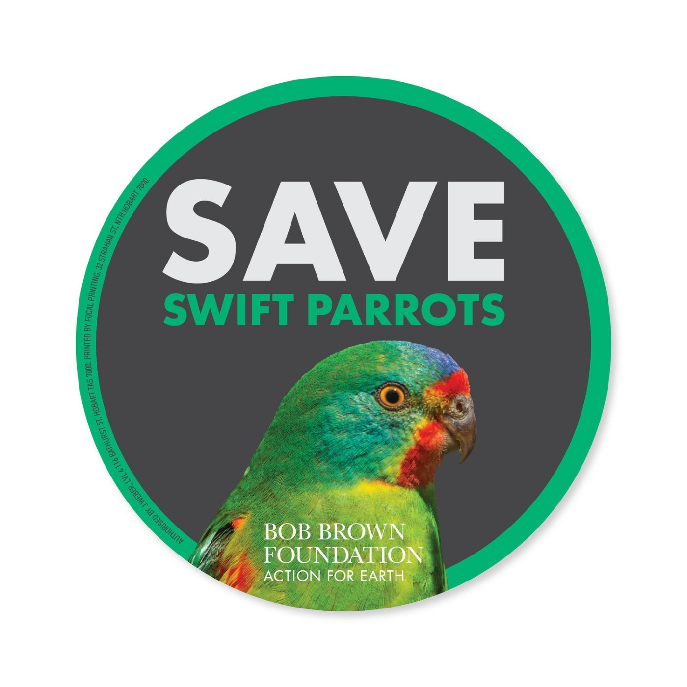 Bob Brown Foundation - Sticker - Swift Parrot