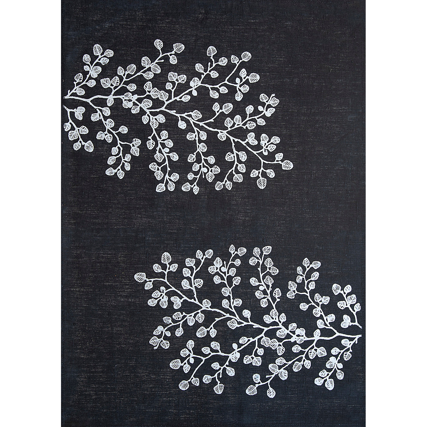 Stalley Textile Co. - Tea Towel - Fagus - Silver on Black
