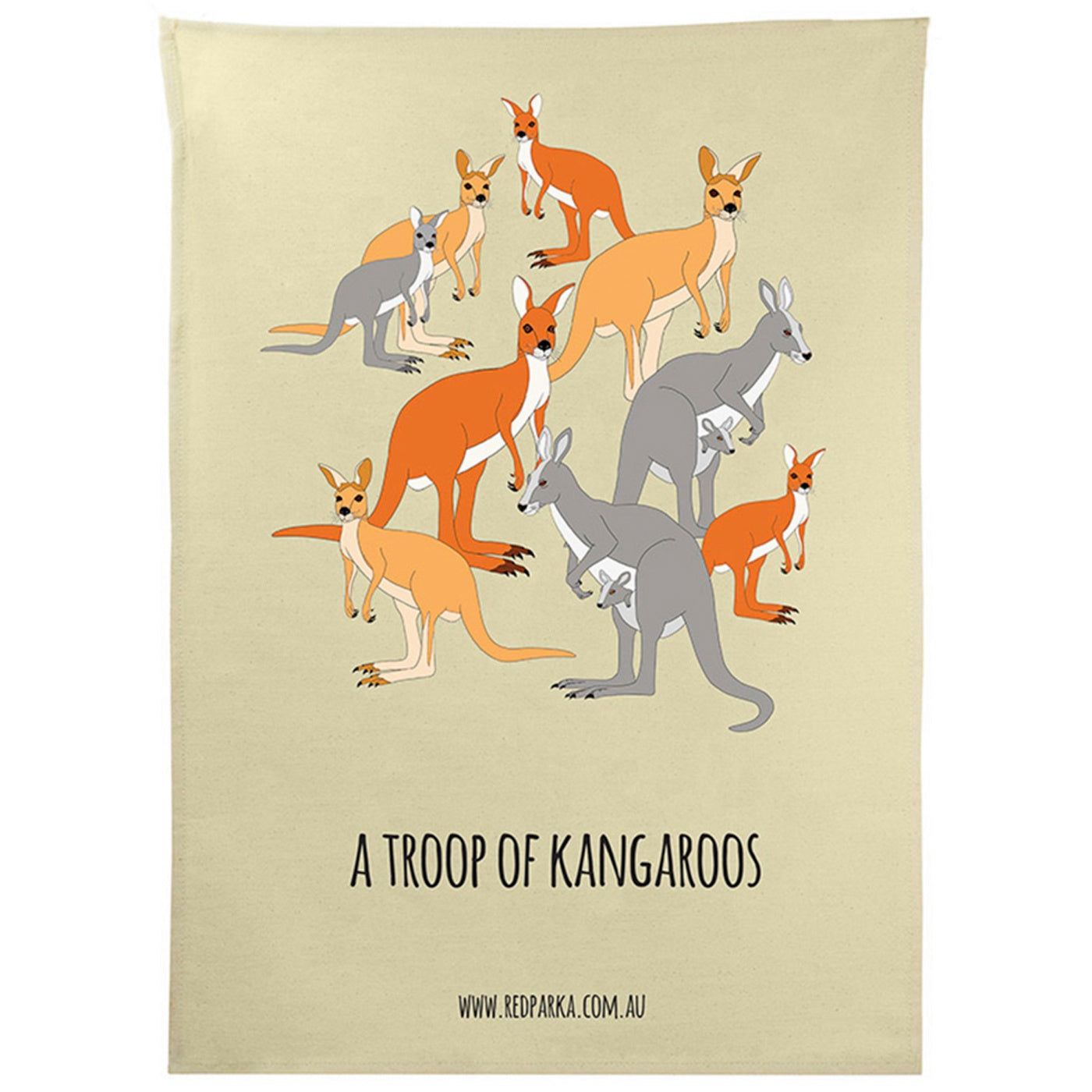Red Parka - Tea Towel - A Troop of Kangaroos