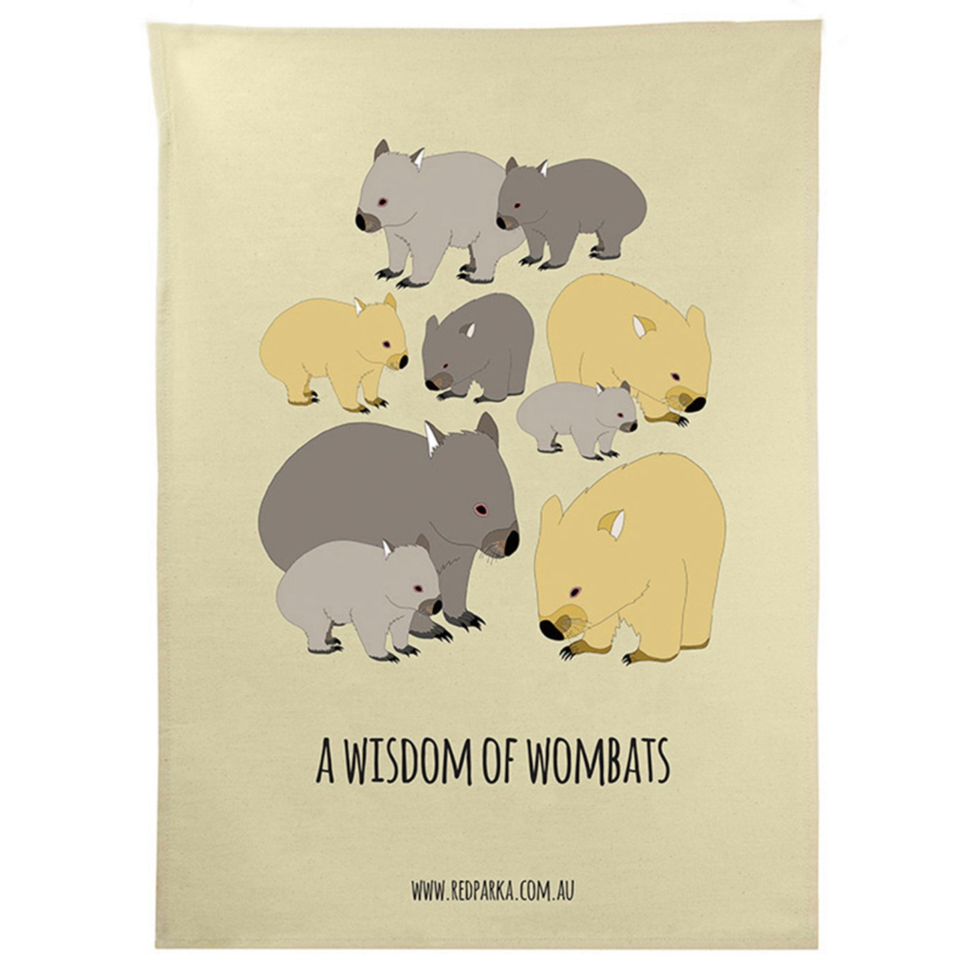 Red Parka - Tea Towel - Wisdom of Wombats