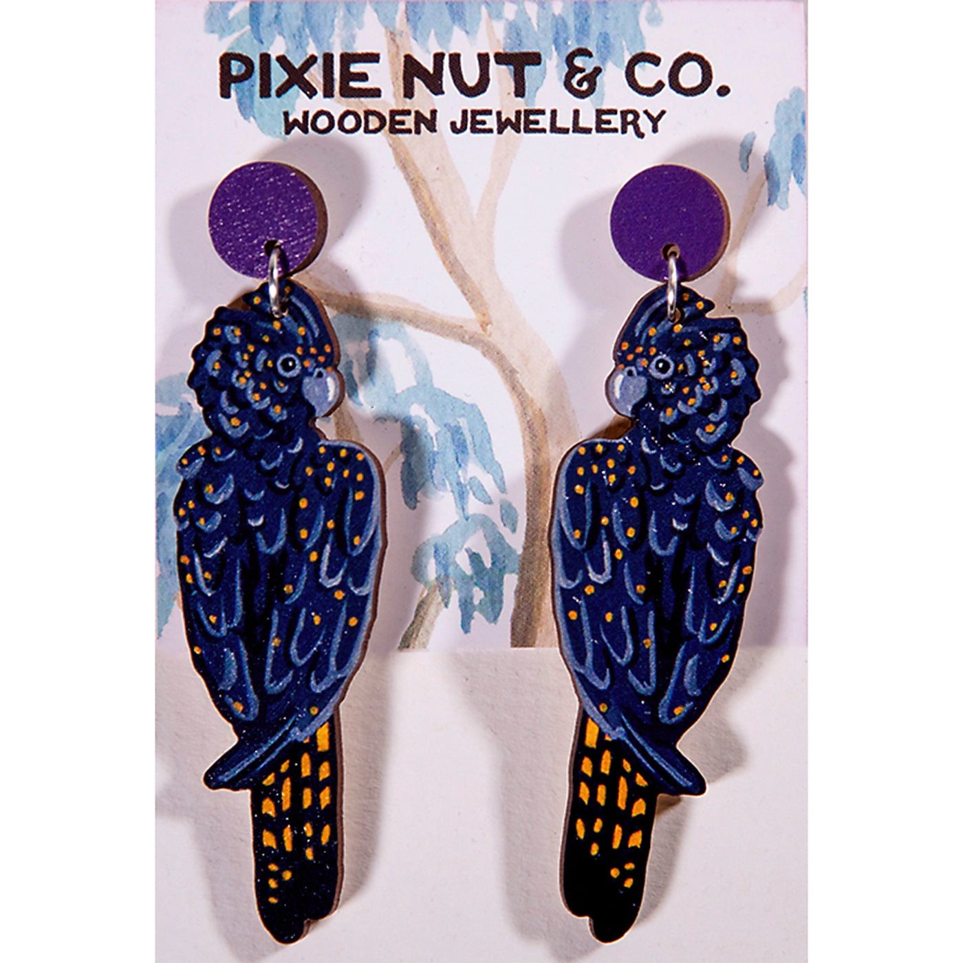 Pixie Nut & Co - Earrings - Black Cockatoo