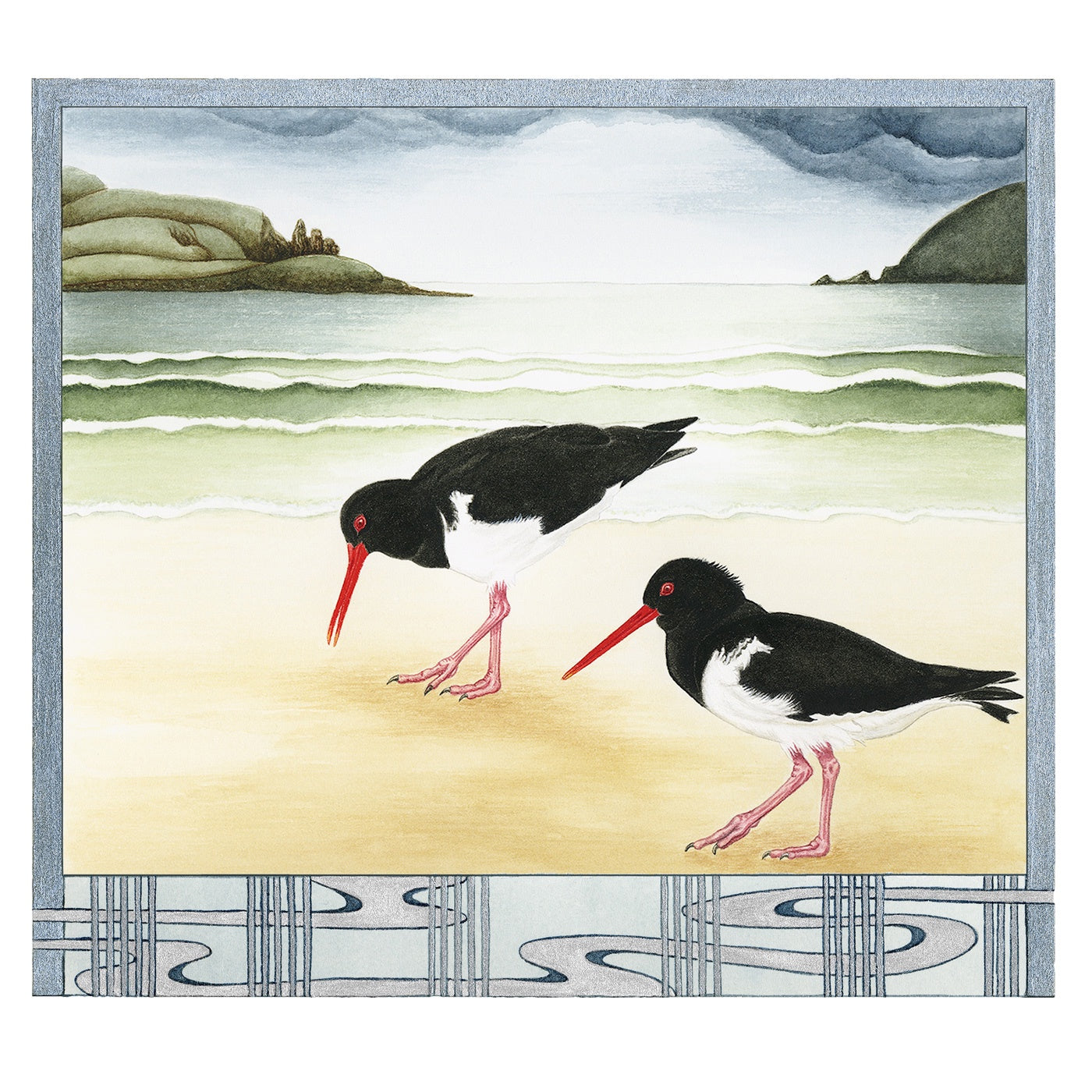 Sylvie Gerozisis - Birds of Tasmania - Art Print - Pied Oyster Catchers